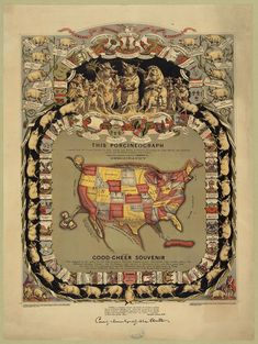 The porcineograph / The Forbes Lith. Mfg. Co., Boston. A map of the United States in shape of a pig, surrounded by pigs representing the different states, with notations of state foods. c1876. lithograph, color; Popular Graphic Arts;  Library of Congress Prints and Photographs Division Washington, D.C.