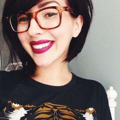 Hair, glasses, and lip stick = SUPER CUTE                                                                                                                                                                                 More