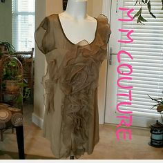 """Selling this """"NWOT M M COUTURE GREEN RUFFLE TOP SHIRT"""" in my Poshmark closet! My username is: cb119600. #shopmycloset #poshmark #fashion #shopping #style #forsale #M & M COUTURE #Tops"""