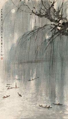 This painting is absolutely stunning! Baoshi Fu and Wash Painting Art Art Japanese Ink Painting, Chinese Painting, Chinese Art, Chinese Brush, Painting Art, Art Chinois, Art Asiatique, Chinese Landscape, Art Japonais
