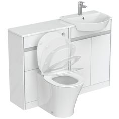 Ideal Standard 2 Piece 600mm Toilet & Basin Unit with Toilet Seat | Wayfair.co.uk Sink Units, Vanity Units, Vanity Sink, Toilet And Basin Unit, Contemporary Toilets, Concealed Cistern, Back To Wall Toilets, Countertop Basin, Curve Design