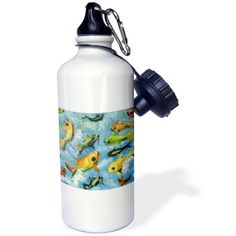 3dRose Fish Election, vote green or gold, Sports Water Bottle, 21oz