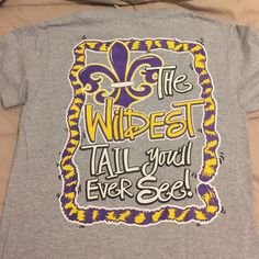 LSU colored T-shirt Cute reference to crawfish in Louisiana colors Tops Tees - Short Sleeve