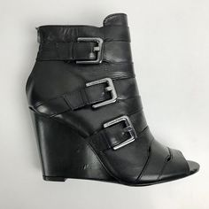 64f8b5821f5 6M Calvin Klein Women s Felisha Black Buckle Boot Booties Open Toe Wedge  GPM  fashion  clothing  shoes  accessories  womensshoes  boots (ebay link)