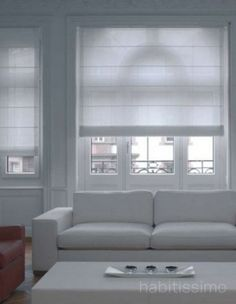White roman blinds in living room Living Room Blinds, House Blinds, Blinds For Windows, Home Curtains, Curtains With Blinds, Rollo Design, Store Bateau, Blinds Design, Minimal Home