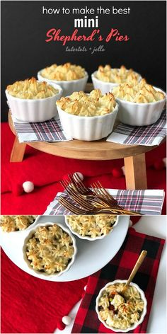 How to make the BEST mini shepherd's pies. Shepherd's Pies are the perfect fall and winter food. Layers of savory meat, veggies and sauce are topped with peaks of creamy mashed potatoes. Make them in individual bowls for a beautiful presentation. Popular Recipes, My Recipes, Caprese Salad Skewers, Cranberry Salsa, Baked Goat Cheese, Healthy Recepies, Cheese Ball Recipes, Creamy Mashed Potatoes, Cheese Bites