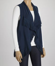 This Navy Blue Fringe Draped Vest is perfect! #zulilyfinds