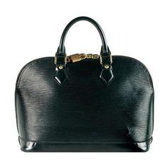 Louis Vuitton Epi Leather Alma Satchel Handbag ($1,455) ❤ liked on Polyvore featuring bags, handbags, louis vuitton, purses, leather handbags, leather hand bags, genuine leather purse, satchel handbags and leather satchel handbags