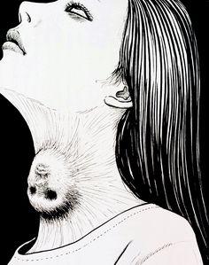 junji ito, manga Creepy Horror, Creepy Art, Weird Art, Japanese Horror, Japanese Art, Arte Horror, Horror Art, Illustration Art Nouveau, Horror Drawing