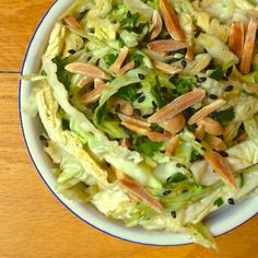 Asian Cabbage Slaw with Mint and Scallions - The Lemon Bowl