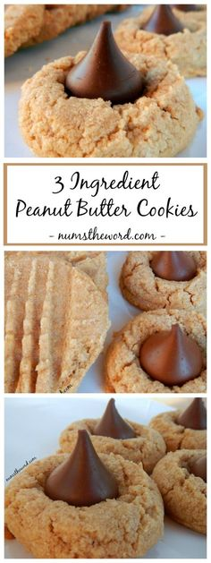3 Ingredient Peanut Butter Cookies - If you love peanut butter cookies, you should try this classic 3 ingredient peanut butter cookie recipe. Enjoy these the traditional way or with a kiss!