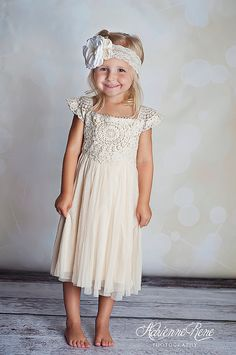 Sizes available: 2T 3T 4T 5T 6/7 8/9 All run true to size. This dress a beautiful cream color with crochet lace top and flowy bottom. Top seller