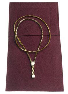 Zipper Necklace by Frans van Nieuwenborg and Martijn Wegman: 24K Gold Plated Silver. $460