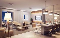 Perspectiva ilustrada do Living dos apartamentos de 102m².