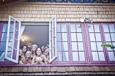 Bridesmaids from the window