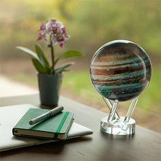 Solar-powered Spinning Jupiter Globe http://stuffyoushouldhave.com/solar-powered-spinning-jupiter-globe/