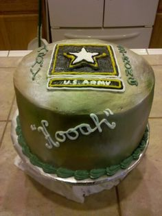 Army Cake with layers of red velvet, white cake, and blue velvet. All to welcome home a soldier from Middle East. By Lisa Parsons