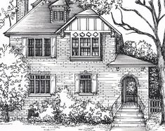 House Portrait in Ink 8x 10 in 11x 14 | Etsy