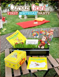 I'm investigating Curious George themed parties for our next birthday party- here's one idea that is really cute!