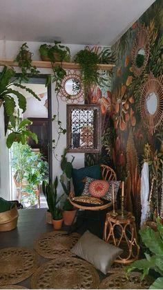Boho Living Room, Living Room Decor, Bohemian Living, Bohemian Office, Bohemian Style Rooms, Bohemian Homes, Bohemian Interior Design, Eclectic Living Room, Room With Plants