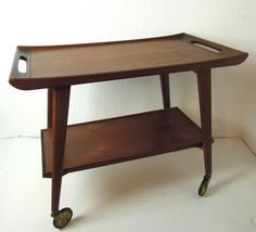 DANISH MODERN TEAK TEA TROLLEY MID CENTURY BAR CART TABLE EAMES PANTON 50s 60s