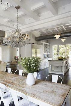kitchen/dining ♥. Rustic table top w/ white legs.