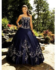 Navy blue ball gown strapless floor-length embroidery Ball Gown Prom Quinceanera Dress BGPD22801