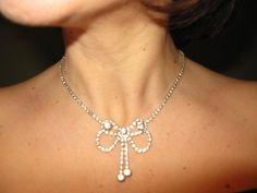 Rhinestone Necklace Vintage 1950s Bridal by greenleafvintage1, $17.99
