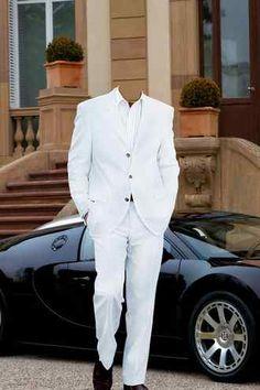 Male psd white suit black car