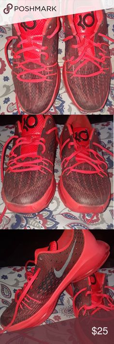 Nike KD 8 big kids sneakers Red preowned please see pictures for shoes condition outside clean inside is dirty do not smell Nike Shoes Sneakers