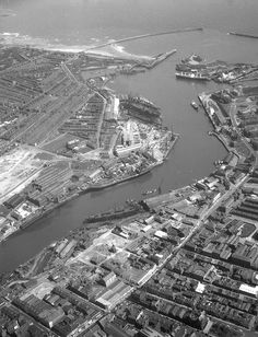 Looking down the River Wear Sunderland England, Marine Engineering, Aerial Images, Down The River, North East England, Aerial View, Nice View, Great Britain, Old Houses