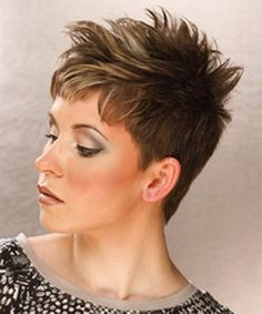 Short Straight Casual Hairstyle - Light Ash Brunette Hair Color with Light Blonde Highlights - Side on View Short Cropped Hair, Funky Short Hair, Very Short Hair, Short Straight Hair, Short Hair Styles, Short Spiky Hairstyles, Short Hairstyles For Women, Straight Hairstyles, Cool Hairstyles
