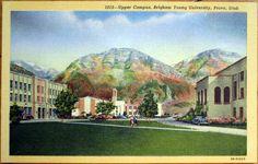 1950 Linen Postcard: Brigham Young University, Upper Campus - Provo, Utah UT