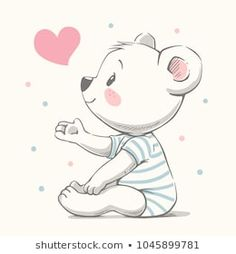 Can be used for t-shirt print,… Cute bear cartoon hand drawn vector illustration. Can be used for t-shirt print, kids wear fashion design, baby shower invitation card. Baby Animals, Cute Animals, Cute Animal Illustration, Hand Illustration, Baby Shower Invitation Cards, Cartoon Cartoon, Cartoon Images, Baby Drawing, Baby Art