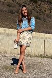 """love the casual of this denim """"like"""" shirt with this printed skirt"""