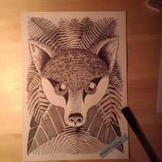 Foxy black and grey brush-ink pen for more my art check @cipananatalia on instagram or if you buy some of my designs visit www.society6.com/cipananatalia
