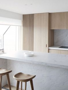 modern simple kitchen wood and marble