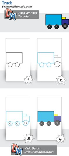 How to Draw a Truck, Simple Tutorial for Young Kids