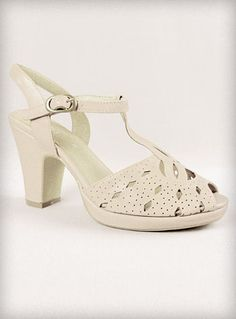 a nice heel to go with all those summer dresses $59.00  Bone Jitterbug Jane Sandals | PLASTICLAND