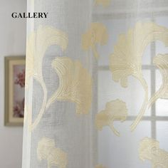 Gallery Curtain 1 PC Golden Ginkgo Leaf Curtains for Living Room Free Shipping Tulle Curtains Fabrics Curtains for Bedroom Yarn #Affiliate