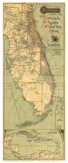 Florida 1893 State Map   Jacksonville St. Augustine & by Oldmap