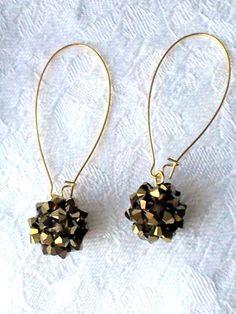 Gold crystal beadwork ball long drop by OdesiaMayJewellery on Etsy, £16.00