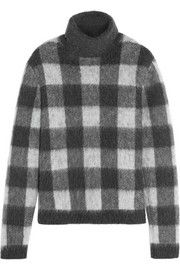 Checked brushed knitted turtleneck sweater