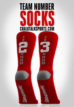 Team Number Socks - now in available in more colors including red socks! Great for lacrosse players! Lax socks