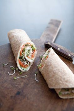 You can also serve this delicious breakfast wrap as an eye-catching, light and healthy appetizer: double or triple the recipe and cut the wraps on the diagonal into 1 1/2-inch (4-cm.) slices. Look for sprouted-wheat tortillas at a natural-foods or well-stocked grocery store.Smoked Salmon & Cucumber Wraps