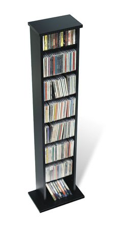 Black Slim Multimedia Storage Tower  sc 1 st  Pinterest & Leslie Dame CD-1040CHY Revolving CD / DVD Storage Tower in Light ...