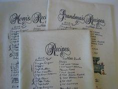 Handwritten Recipe Tea Towel Custom Recipe Flour Sack towels