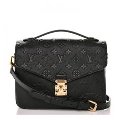 LOUIS VUITTON Empreinte Pochette Metis Noir Black ❤ liked on Polyvore featuring bags, handbags, shoulder bags, stripe purse, shoulder bag purse, leather handbags, striped handbags and monogrammed handbags