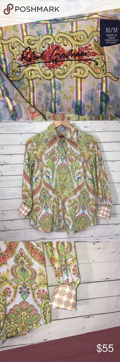 "Robert Graham Paisley Embroidered Button Up Shirt Beautiful condition   Measurements   Bust 19"" Sleeve 22"" Length 25.5"" Robert Graham Tops Button Down Shirts"