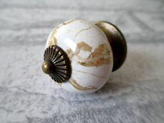 Dresser Knob Drawer Knobs Pulls Handles White Ceramic Antique Bronze Kitchen Cabinet Knobs / Furniture Knob Handle Pull Hardware Country